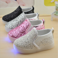 Wholesale Sequin Shoes For Girls - Free shipping 2016 autumn fashion sequins lights led shoes for kids girls flat platform rubber elastic band 21-30 5 colors