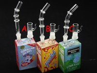 Wholesale Detachable Dripping - 3 models Detachable drip tips clear glass tips Hitman Mini Liquid glass rigs Glass Cereal Box oil Dab Rig hitman mini glass bong