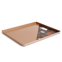сковородки оптовых-Baking Sheet Pan Cake Cookie Pizza Tray Baking Sheet Plate Gold Carbon Steel non-stick Square Baking Pan Can provide FBA ship HH7-876