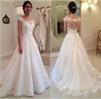 knopf durch kleider großhandel-2019 Modest New Lace Appliques Brautkleider Eine Linie Sheer Bateau Ausschnitt Durchsichtig Knopf Zurück Brautkleid Flügelärmeln Vestidos