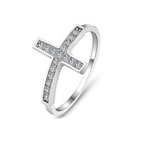 Wholesale Wholesale Vintage Stamping Jewelry - Wholesale-Cross vintage rings for women vintage jewelry 2016 sterling silver ring classic cz design wholesale sideways ring stamped 925