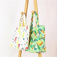 Wholesale Cotton Canvas Floral Print - Autumn Floral Print Cotton Canvas Bag Shoulder Bags for Women Totes Shopping Bag FBB2377