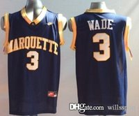 Wholesale Usa Eagles - #3 New Usa Marquette Golden Eagles Dwayne Wade College Men's Basketball Jersey Blue, Customized Name,Number And Size Stitched