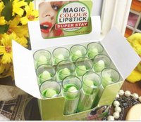 Wholesale Magic Lipsticks - Original Green Change Color To Red Lipstick Magic Color Temperature Change Color Super Stay Lipstick Moisture Anti-aging Lip Balm Rouge