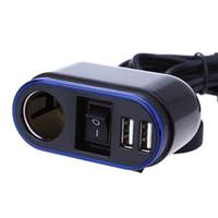 ingrosso usb outlets-Caricatore per accendisigari USB Scooter Moto Impermeabile con indicatore LED per luce blu antipolvere Porta presa di corrente