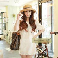 Wholesale Curl Fashion Style - Summe Korean Fashion Wholesale Beach Hat Korean Foldable Curling Hat Butterfly Style Decoration Noble Lady's Retro Mood Sunhat Wide Brim Hat