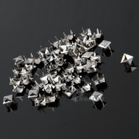 Wholesale Silver Studs For Clothing - 1000x Punk Silver DIY Pyramid Studs Rivets Spots Spikes for Bag Clothes Leather