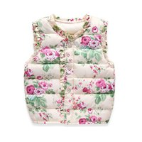Wholesale Down Lining - High Quality 2016 Autumn Spring Children's Jackets Sweet Floral Down Cotton Warm Girls Vest Kids Waistcoat Baby Girl Clothes