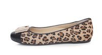 Wholesale Wedding Shoes Leopard Print - Free shipping H86-1 big size 34~41 women Leopard flats 2 colors round toe with sequined lady ballerina slip-on flats