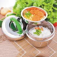 Wholesale Round Rice - Stainless steel Bowl Student Apple Shaped 1000ML Lunch Box Insulation Lunch Box Non-magnetic Stainless Steel Rice Bowl 48pcs OOA2383