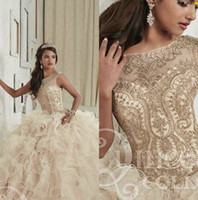 Wholesale High Quality Quinceanera Dresses - Gorgeous High Quality Crystal Quinceanera Dresses Scoop Neck Hollow Back Coeset Back Prom Dress Tiered Skirts Floor Length Sweet 16 Dress