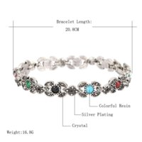 Wholesale Mixed Resin Food - Hot 2015 Bohemian Bracelets For Women AAA Resin Tibetan Silver Alloy Carnea Connected Jewelry Mixed Wholesale
