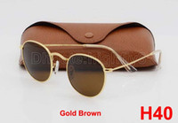 Wholesale Mens Sunglasses Gold Lens - 1pcs Mens Womens Round Sunglasses Eyewear Sun Glasses Designer Brand Gold Metal Frame Brown 50mm Glass Lenses With Better Quality Cases