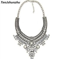 Wholesale Pearl Cluster Statement Necklace - Necklace Boho Statement Maxi Collier Pendants Crystal Simulated Pearl Bohemian Collares Femme Women Jewelry Bijoux Gifts dz060