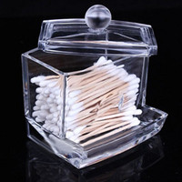 Wholesale Cotton Q Tips - New Creative Clear Acrylic Q-Tip Storage Holder Box Transparent Cotton Swabs Stick Cosmetic Makeup Organizer Case High Quality