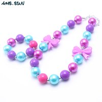 Wholesale chunky bow necklaces - MHS.SUN Purple Bow Chunky Necklace&Bracelet Set Fashion Purple+Blue Beads Children Girl Toddler Bubblegum Chunky Bead Necklace Jewelry Set