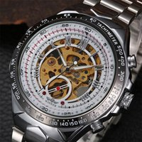 Wholesale Winner Skeleton Silver Automatic - Luxury Winner Men Black White Titanium Automatic Skeleton Sports Wristwatch Fashion Brand Chronograph Stainless Steel Mechanical Watches