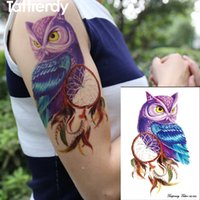 Wholesale Tattoo Color Arms - Wholesale- 1piece Temporary Tattoo Color Owl dream catcher tattoos Stickers big women's Waterproof On body Arm Animal dreamcatcher HB649