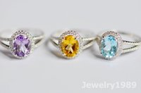Wholesale Crystals Diamond Stones - CZ diamond rings Wedding Ring 925 sterling silver Rings wholesale lots gemstone rings crystal jewelry white gold plated women engagement