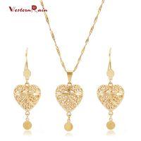 """Wholesale Gold Crystal Bracelet Heart Rhinestone - Westernrain 2017 Gold 24K Necklace&Earrings For Women """"Heart"""" Fine Necklace wholesale jewelry-G693"""