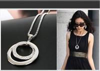 Wholesale Long Set Chain - Hot Charms Accessories 6pcs Wholesale OL Fashion temperament set zircon silver round long necklace sweater pendant chain Women Jewelry