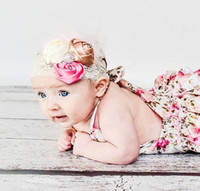 Wholesale Size 15 Clothing - 15% off! 7 style optional floral pattern baby rompers newborn toddler Girl Clothing lace Infant Jumpsuit 6pcs(3pcs rompers+3pcs hairbands)