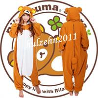 Wholesale Onesie Anime - Wholesale-NEW Rilakkuma Kigurumi Pajamas Anime Cosplay Costume Unisex Adult Onesie Sleepwear