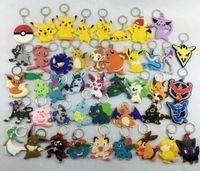 yaris uzaktan kumanda anahtarı toptan satış-40 Adet / grup anime çocuk oyuncak Pikachu Pokeball Catoon pvc Action Figure Modeli oyuncak Anahtarlık Kolye Chaveiro Anahtarlık ...
