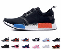 Wholesale grey knit - 2016 NMD Runner R1 Primeknit OG Black Triple White Nice Kicks Circa Knit Men Women Running Shoes Sneakers Originals Classic Casual Shoes