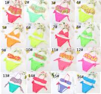 Wholesale Swimwear For Little Girls - Girls Two Piece Fringe Swimwear Triangle Halter Neck Swimsuit For Teenagers little kids bikini Children In Bathing Suits Bikini DHL Shipping