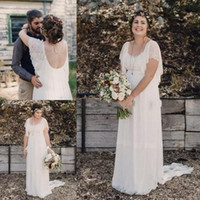 Wholesale Plus Size Ivory Dresses - 2017 Ivory Bohemian Wedding Dresses Plus Size Maternity Lace Short Sleeves Cheap Scoop Open Back Country Spring Wedding Bridal Wedding Gowns