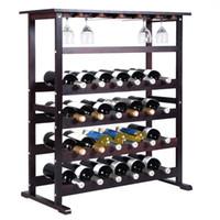 Wholesale Bathroom Glass Shelves - New 24 Bottle Wood Wine Rack Holder Storage Shelf Display w  Glass Hanger