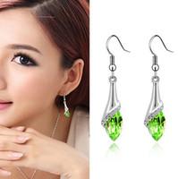 Wholesale green austrian crystal earrings for sale - Group buy Austrian Crystal Earrings New Fashion Brand Jewelry wholesales Austrian Crystal Water drop Earring Angel Eyes jewelry