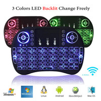 Wholesale Usb Handheld - I8 + Wireless Backlight Mini Keyboard Fly Air Mouse Multi-Media Remote Control With Touchpad Game Handheld Controller For S905X S912 TV Box
