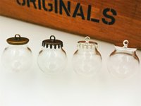 Wholesale Clear Bottle Necklaces - 20*12mm clear glass globe bottle with cliver cap findings set empty glass dome cover glass vial pendant charms jewelry findings