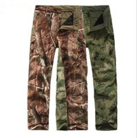 Wholesale Men Pants Army Winter - Shark Skin Softshell Outdoors Tactical Military Camouflage Pants Men Winter Army Waterproof Thermal Camo Hunt Hike Fleece Pants high quality