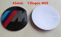 kunststoff-lenkrad großhandel-MIX 13logos 500 stücke // / M Alpina AC 45mm lenkrad abzeichen emblem logos auto aufkleber für AUTO 1 3 5 6 7 Serie blau schwarz weiß rot kohlenstoff