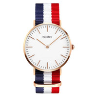 Montre Geneva Multicolore Pas Cher-SKMEI NEW ARRIVAL ultra-mince Genève Montres Multicolor Stripe Nylon Fabric Canvas Montres-bracelets de luxe Genuine Veau Montres en cuir Business