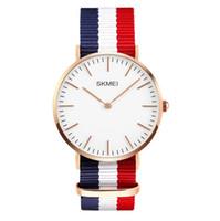 Wholesale Geneva Stripes Watch - SKMEI NEW ARRIVAL ultrathin Geneva Watches Multicolor Stripe Nylon Fabric Canvas Wristwatches Luxury Genuine Calf Leather Watches Business