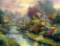 Wholesale Thomas Kinkade Landscape Oil Painting Reproduction High Quality Giclee Print on Canvas Modern Home Art Decor TK053