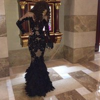Wholesale Lace Feathered Dress - Luxury Black Feather Prom Dresses With Long Sleeves Sheer Champange Arabic Evening Gowns Real Tulle Mermaid Formal Dresses Gowns Plus Size