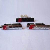Wholesale Car Badge Emblem Front - Car Badges for Audi S Line Front Grille Emblems for Audi A1 A3 A4 A4L A5 A6L S3 S6 Q5 Q7