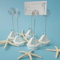 ingrosso carte banchetti-Carta di vela morsetto sedile stile spiaggia moda arredamento da tavola banchetto numero nome titolare creativo articoli per matrimoni 3 2k F R