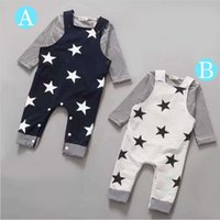 Wholesale Stars Suspender - Wholesale- Retail 2016New 2pcs Long sleeve + suspenders baby boy girl clothes cotton100% Autumn long sleeve straps star infant boy clothing