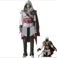 Wholesale Ezio Costume Assassin - Assassins Creed II Ezio Auditore da Firenze Cosplay Costume Adult Men's Halloween Outfit
