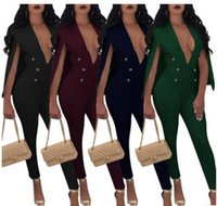 Wholesale Office Women Suit Sexy - 2018 new Women Bandage Jumpsuits Suit cloak Fashion Sexy deep V Bodycon Rompers ladies Bodysuit Office Work Wear