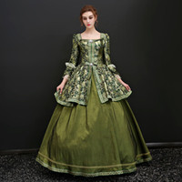 Wholesale Baroque Gown - New Arrival 2017 Square Collar Long Flare Sleeve Alice Gothic Victorian Long Dresses European Rococo Baroque masquerade Dresses Ball Gown