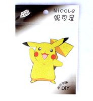 Wholesale Iron Man Anime - New 100 pcs Anime Pocket Monsters Pikachu Cartoon Iron On Patch Sticker Cartoon Heat transfer Patches For Kids Childrend Man Boy Clothing
