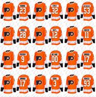 Wholesale Philadelphia Home Jersey - custom men's Philadelphia Flyers 9 ivan provorov 3 radko gudas 93 jakub voracek 12 michael raffl mark istret 2018 season orange home jersey