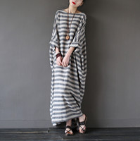 Wholesale Stripe Batwing - 2016 Summer Dresses Retro Vintage Stripe Batwing Sleeve Robe Ultra Long Loose Plus Size Women Dress Casual Linen Dress